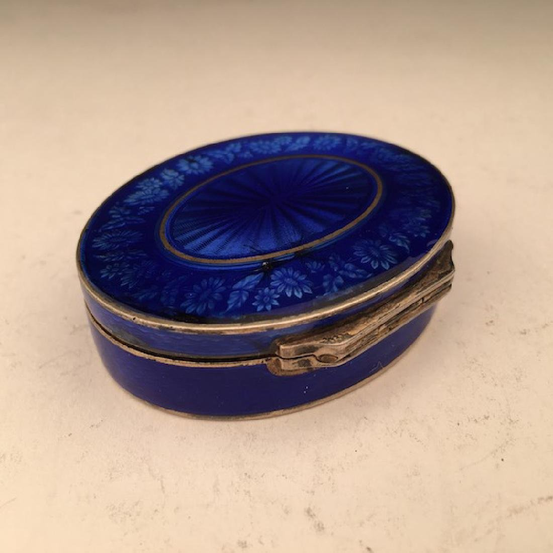 Silver and colbalt blue oval box. - 4