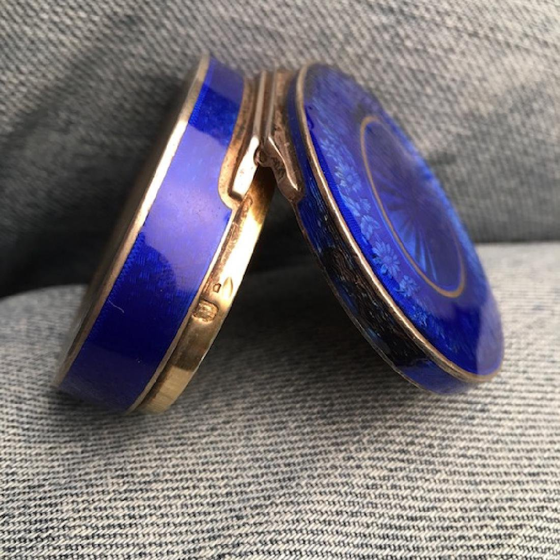 Silver and colbalt blue oval box. - 5
