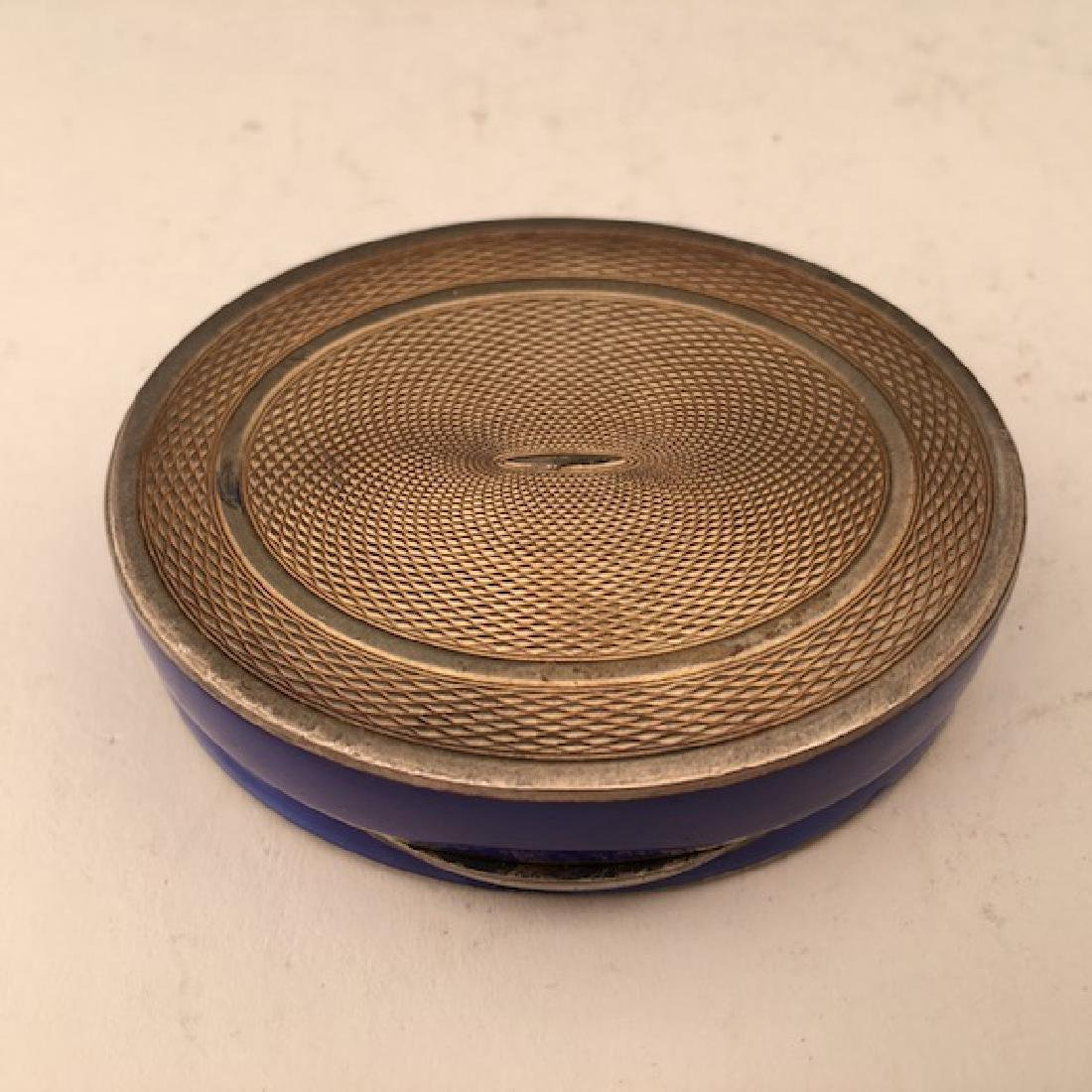 Silver and colbalt blue oval box. - 6