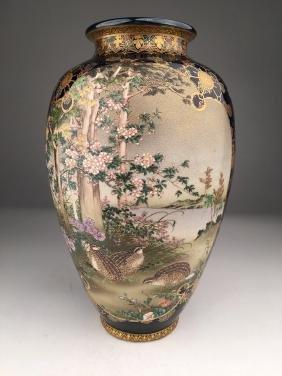 Japanese Kinkozan Meiji period vase on colbalt blue