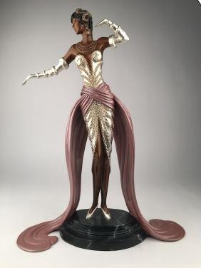 """Erte bronze figure, """"Ready for the Ball""""."""