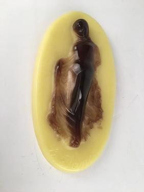 A Daum pate-de verre high relief female figure titled