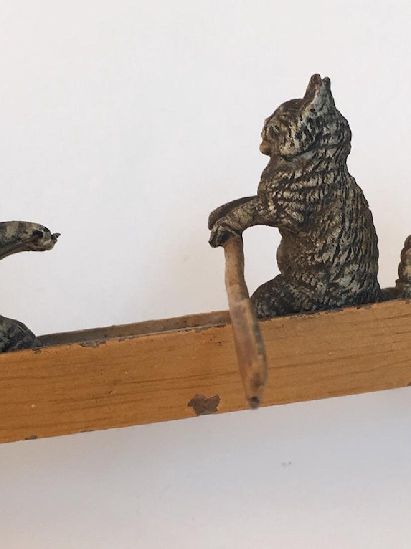 Vienna bronze figure of a canoe with three kittens. - 5