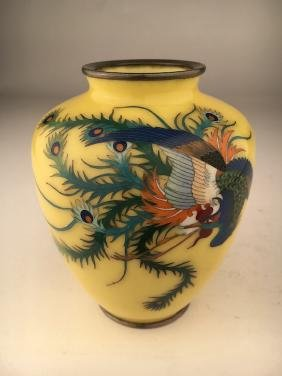 Japanese cloisonne and silver wire enamel vase with