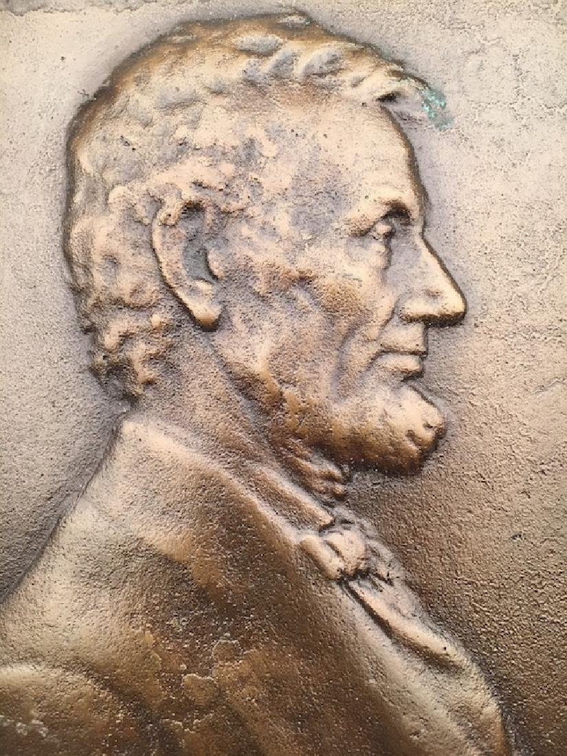 V.D. Brenner bronze wall of Abraham Lincoln. Marked - 4
