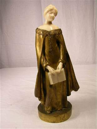 LOUIS SASSON (FRENCH). BRONZE AND IVORY FIGURE OF
