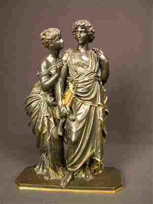 """BRONZE SCULPTURE DEPICTING """"ORPHEUS AND THE NYMPH"""