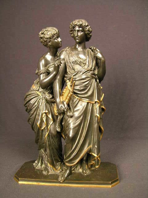 """1766: BRONZE SCULPTURE DEPICTING """"ORPHEUS AND THE NYMPH"""