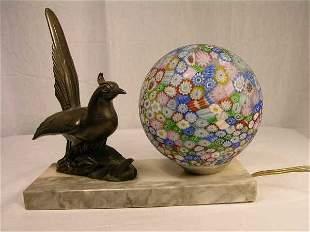 VINTAGE ART DECO LAMP WITH MILLEFIORI SHADE. FIGU