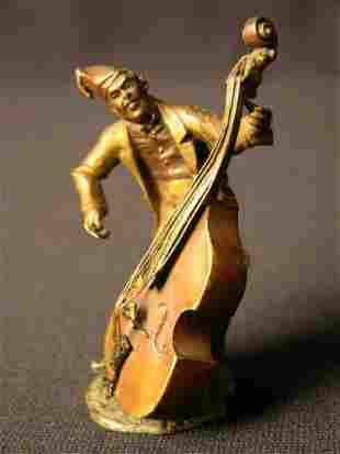 """VIENNA BRONZE OF A CELLO PLAYED.HEIGHT 3 1/2""""."""