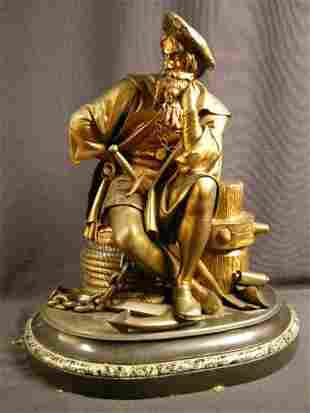 BRONZE SCULPTURE OF CHRISTOPHER COLUMBUS IN A SIT
