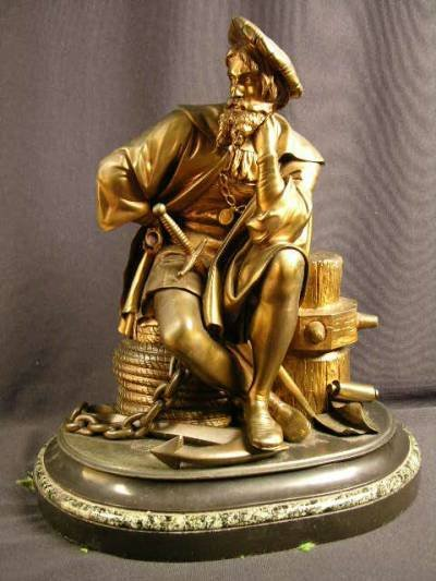 1770: BRONZE SCULPTURE OF CHRISTOPHER COLUMBUS IN A SIT