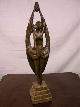 BRONZE - ART DECO OF A HIGHLY STYLIZED WOMAN