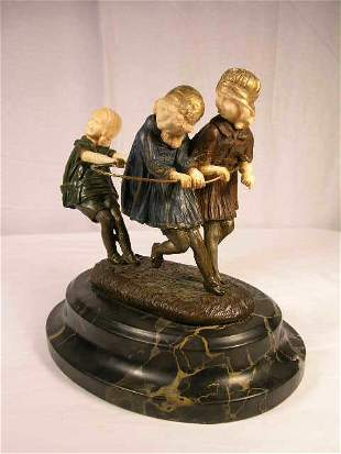 """""""DEMETRE CHIPARUS (1886-1947)"""" BRONZE AND IVORY S"""