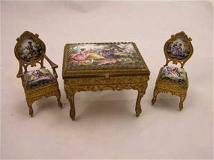HAND PAINTED MINIATURE FURNITURE ENAMELED INSER