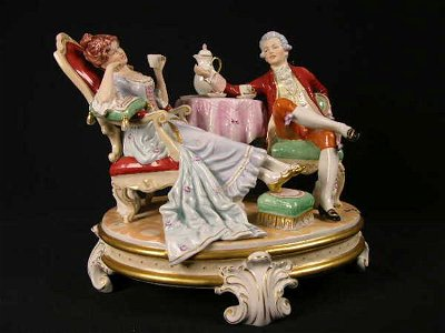 1793: ROYAL DUX GROUPING OF A MAN AND WOMAN SIPPING TEA