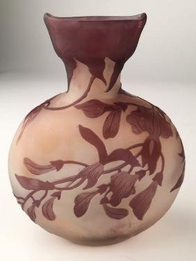 "Galleo cameo vase with large flowers. Signed ""Galle"" in"