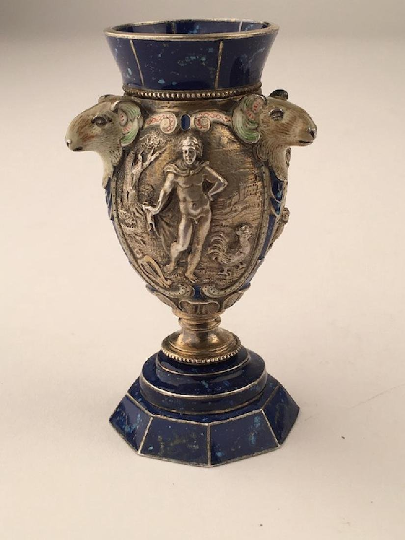 A fine quality enamel and silver urn with three Grecian