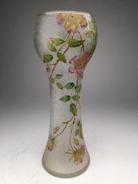 Daum Nancy French enamelled vase with flowers and