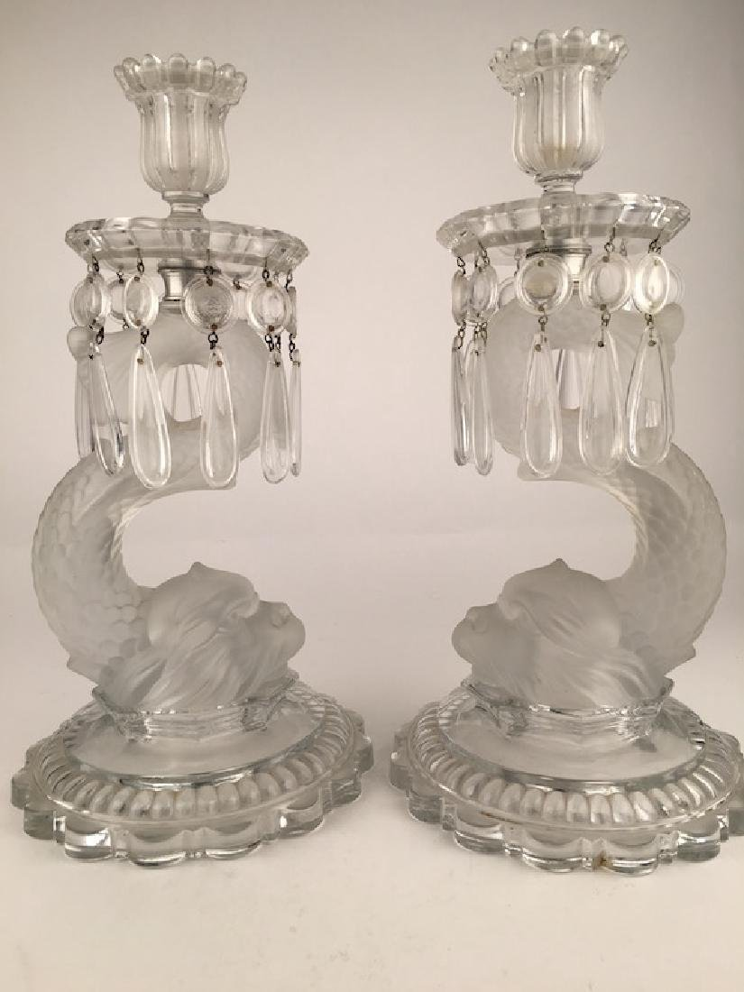 Baccarat pair of Dolphin candlesticks in clear and