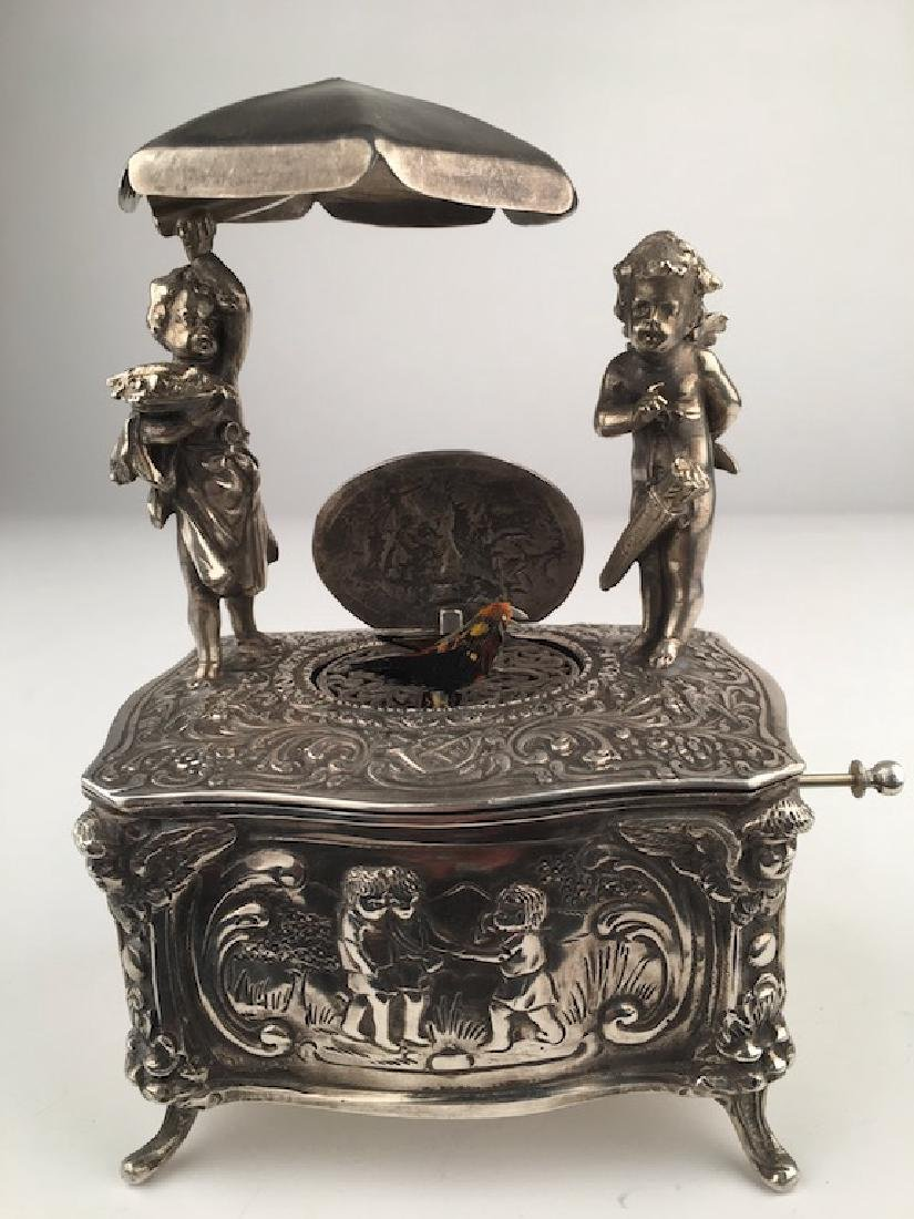 925 Silver mechanical singing bird box with two young