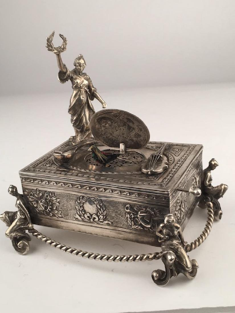925 Silver mechanical singing bird box with a lady