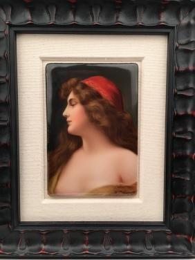 German porcelain plaque of a beautiful lady
