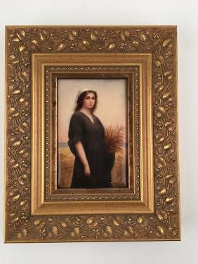 Painted german porcelain plaque of Ruth.
