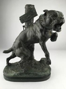 A French bronze sculpture of a junk yard dog. Signed