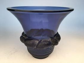 "R. Lalique ""Piriac"" vase in blue glass."