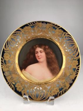 Antique Royal Vienna plate of a beauty with long
