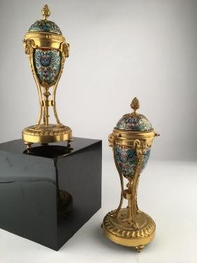 A pair of French late 19th century cloissoine and gold