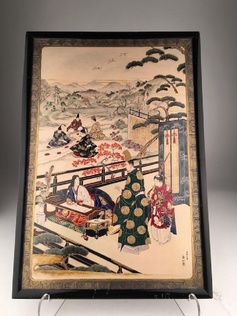 Japanese satsuma Meji period porcelin plaque of The