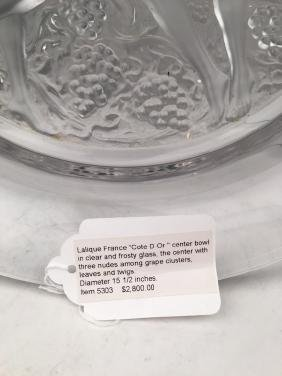 "Lalique France  ""Cote D Or "" centerpiece bowl in clear"