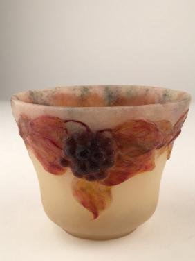 """G. Argy Rousseau pate de verre bowl. Impressed """"G. Argy"""