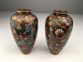 A pair of Japanese  cloisonne vases.