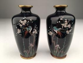 A pair of minature Japanese cloisonne vases.