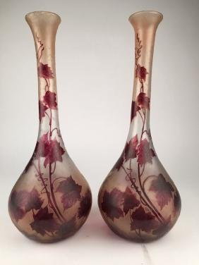 Legras pair of cameo glass vases.