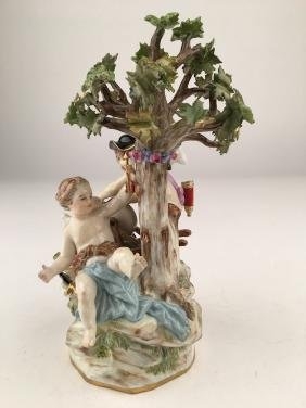 Meissen porcelain figure of two winged children making