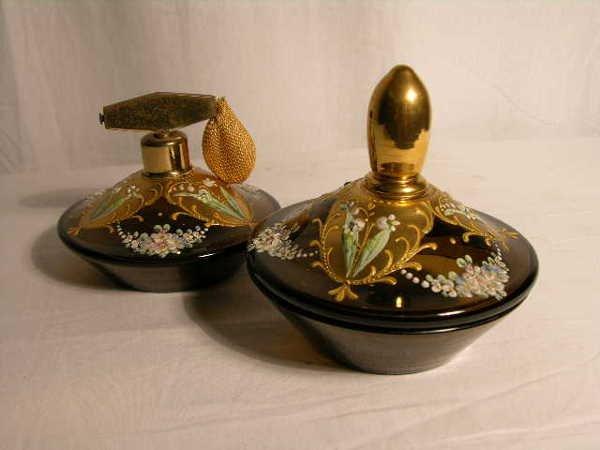2020: AUSTRIAN AMBER GLASS AND GOLD ENAMELED DRESSER PI