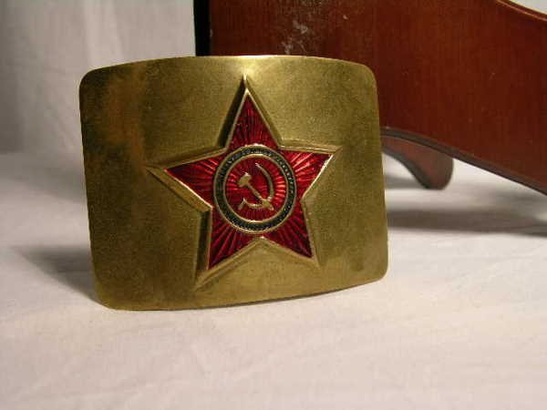 """2022:  """"AN OLD RUSSIAN BRASS BUCKLE WITH RED ENAMEL. 2"""""""