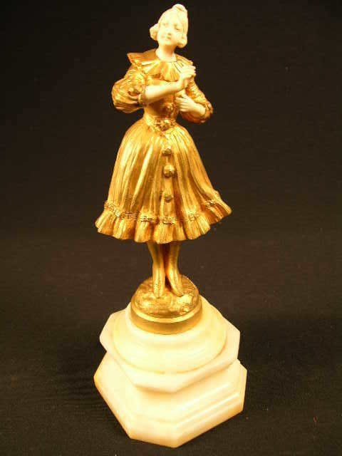 """2042:  """"OMERT BRONZE AND IVORY SCULPTURE OF A LADY.  M"""