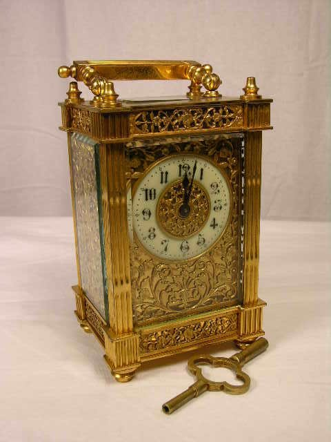"""2119:  """"ANTIQUE BRASS FILIGREE CARRIAGE CLOCK WITH RECT"""