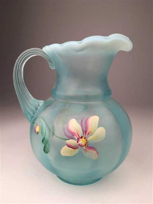 Vintage Fenton Glass Vase In A Milky Green Glass