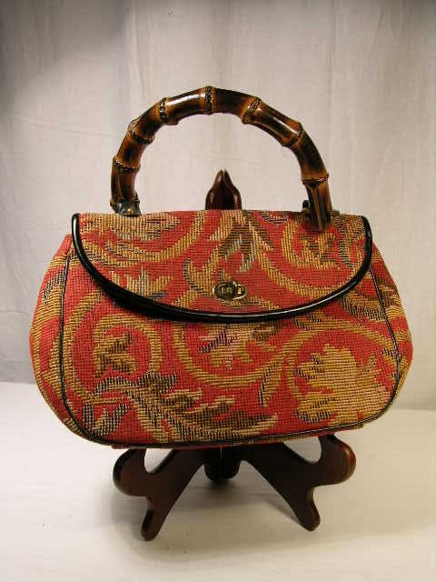 2253: MEYERS TAPESTRY HANDBAG WITH FAMOUS BAMBOO HANDLE