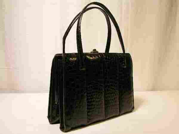BEAUTIFUL BLACK TURTLE SKIN HANDBAG WITH QUILTED