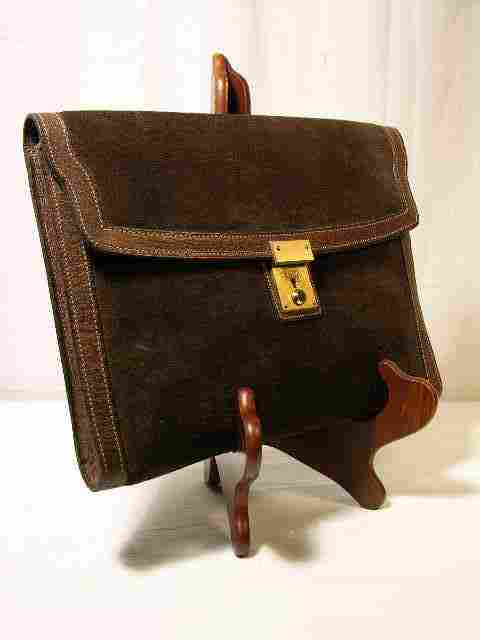 GUCCI BROWN SUEDE WITH PIGSKIN LEATHER TRIM CLUTC