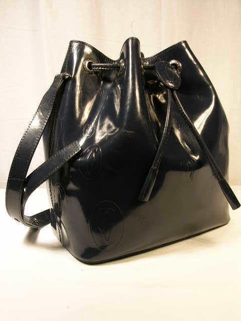 2268: CARTIER NAVY BUCKET SHOULDER BAG.  THIS RARE BEAU
