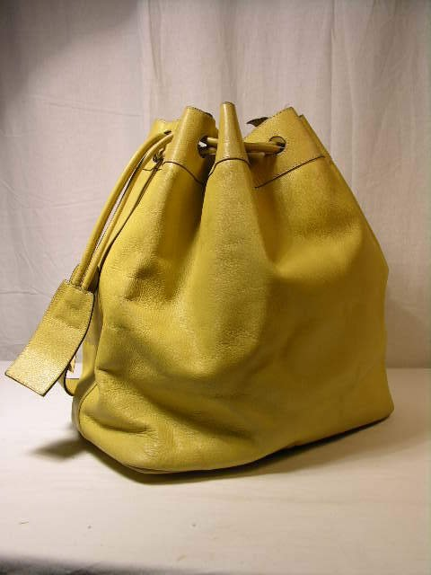 2270: FERRAGAMO LIME YELLOW BUCKET BAG.  THIS IS NOT A