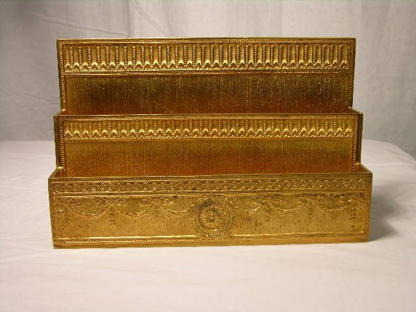 2510: TIFFANY STUDIOS  TWO COMPARTMENT PAPER RACK IN TH